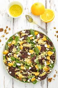Winter Puy Lentil Salad with Beetroot, Orange and Spinach [vegetarian] [gluten free] by The Flexitarian
