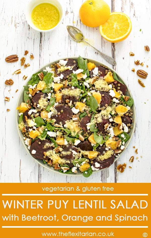 Winter Puy Lentil Salad with Beetroot, Orange and Spinach [vegetarian] [gluten free] by The Flexitarian - Le Flexitarien Annabelle Randles ©