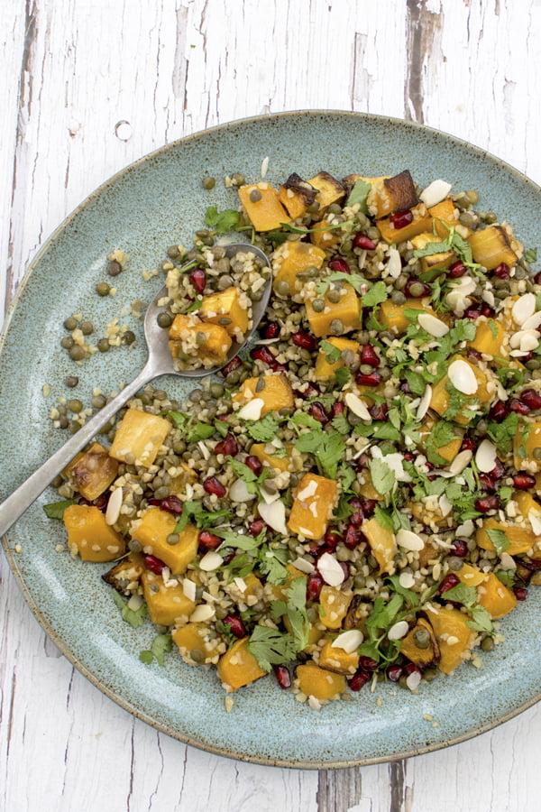 Roasted Butternut Squash Salad with Bulgur Wheat and Lentil 2019 © Annabelle Randles The Flexitarian