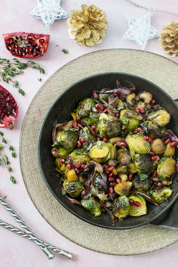 Maple-Roasted Brussels Sprouts with Chestnuts 2019 © Annabelle Randles | The Flexitarian