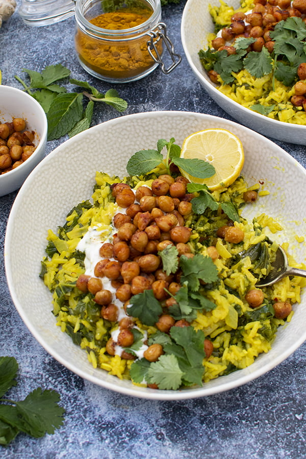 Golden Rice with Kale and Harissa Chickpeas [vegan]
