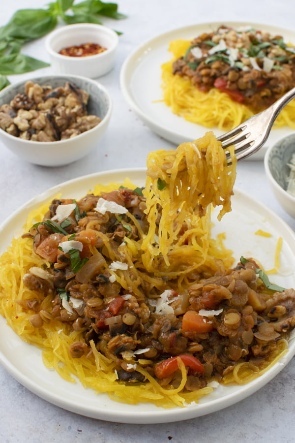 Spaghetti Squash Bolognese [vegan] by The Flexitarian