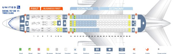 First Cabin Version Of The Boeing 767 300 763 Three Class Seat Map United Airlines V1