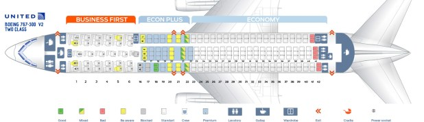 Second Cabin Version Of The Boeing 767 300 763 Two Class Seat Map United Airlines V2 This
