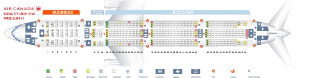 First Cabin Version Of The Boeing 777 300er 77w Three Class V1 Seat Map 300 Air Canada Ver1