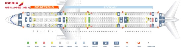 Seat Map Airbus A340 600 V2 Iberia