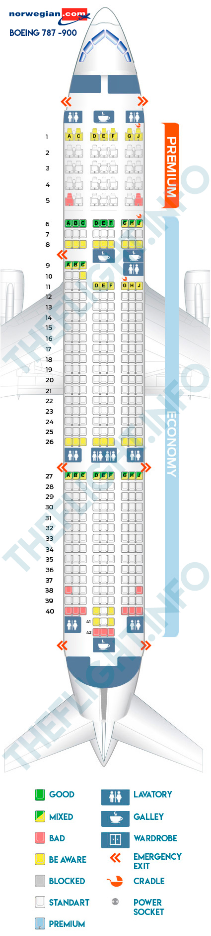 Seat Map Boeing 787 900 Norwegian