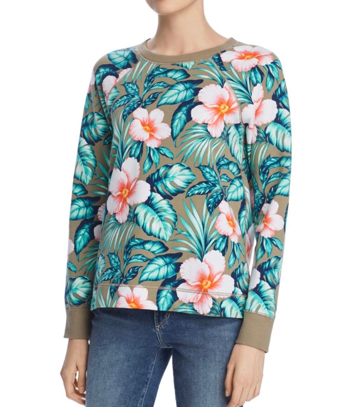 tropical floral sweatshirt pullover