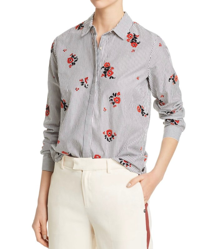 scotch & soda flocked velvet floral & striped shirt chic shirt workwear
