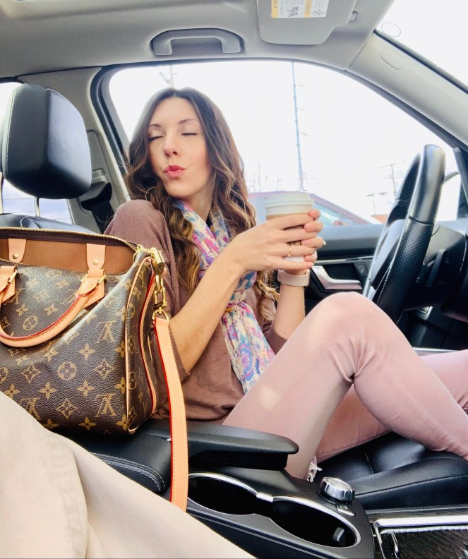 car selfie louis vuitton speedy 30 starbucks spell & the gypsy lovebird scarf blush pants
