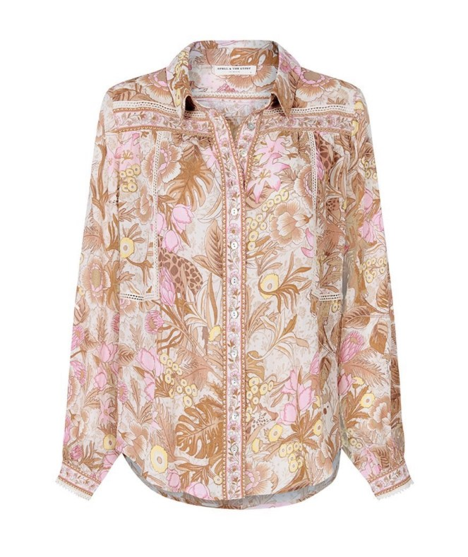 spell & the gypsy jungle blouse shirt cream blush tropical shirt spring style
