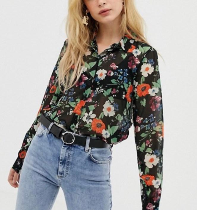asos floral sheet blouse shirt black multi