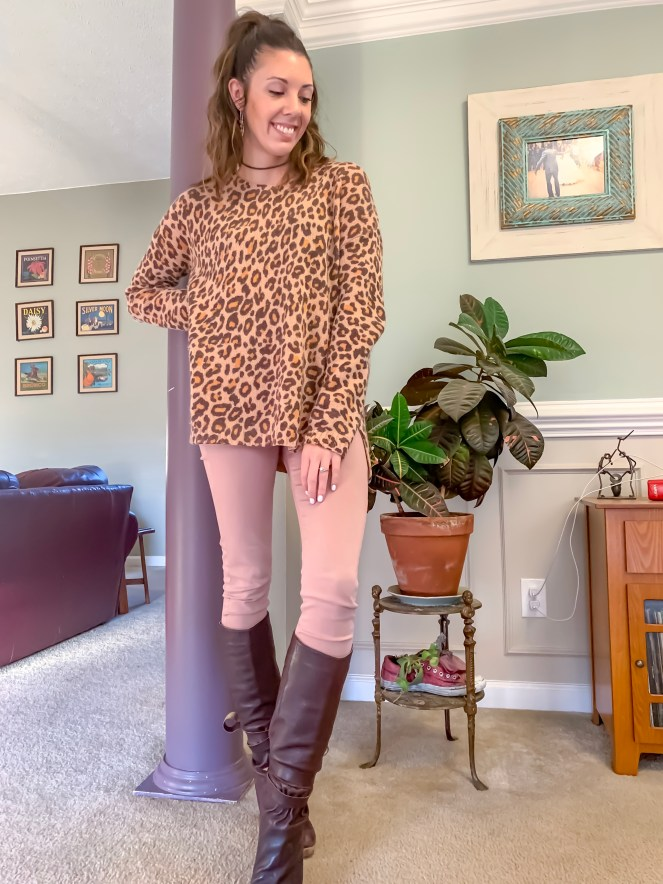 Spell & the Gypsy wildcat sweater leopard sweater AG Farrah sulfur pale wisteria sateen skinny jeans blush pants Cynthia Vincent Ceylon boots brown wedge tall boots