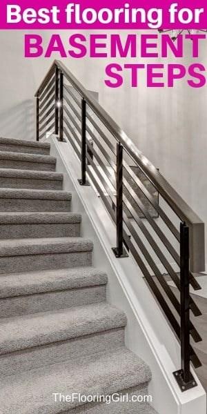 Basement Stairs Best Flooring Choices For Steps The Flooring Girl | Best Kind Of Carpet For Stairs | Stairway | Hardwood | Grey | Stair Runners | Herringbone