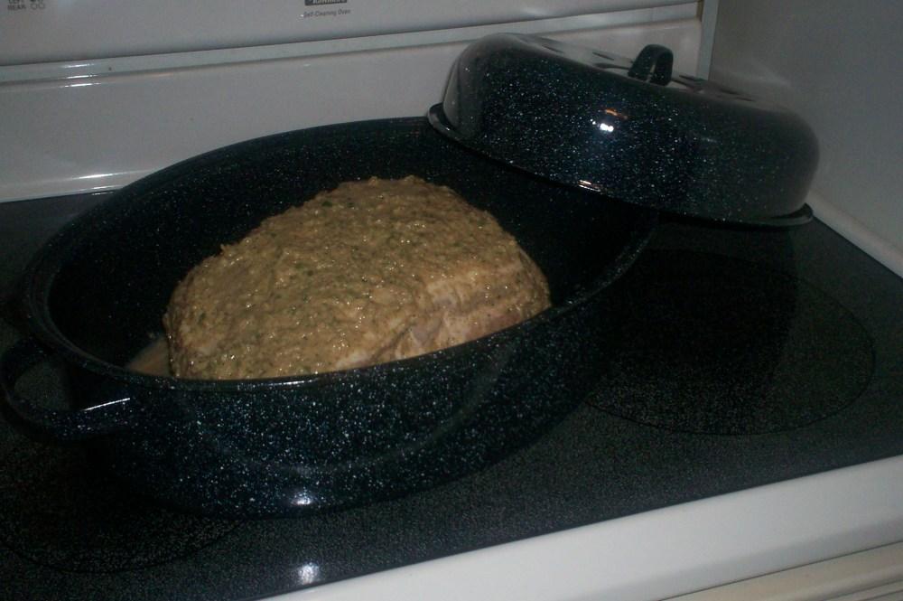 Puerto Rican Roast Pork (Pernil Horneado) and Arroz con Gandules (Spanish Rice with Pigeon Peas) (2/2)