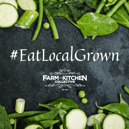 This is a chalk board with greens and zucchini framing the words #EatLocalGrown