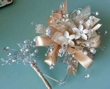 Prom Corsage and Boutonniere Peach Ribbon