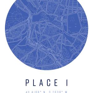 Custom Blueprint Map Print with coordinates for home decor wall art