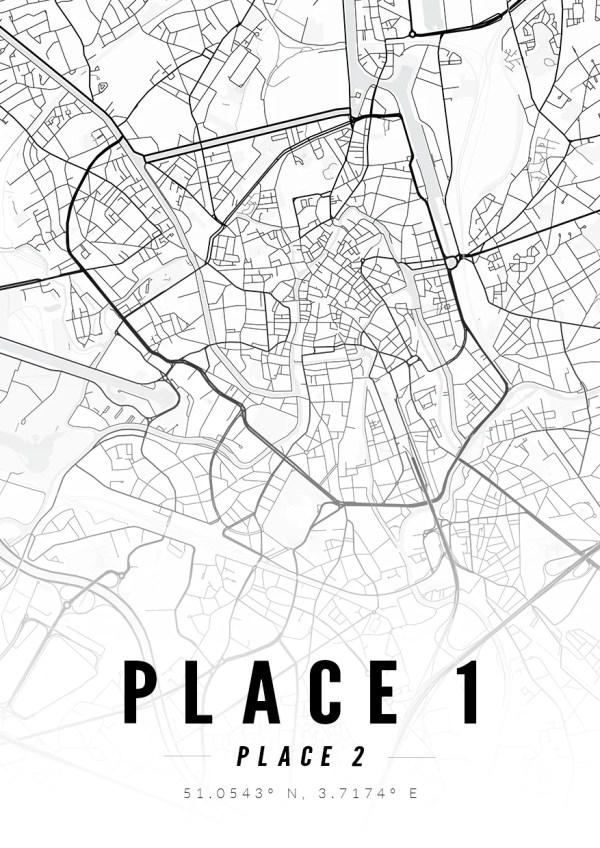 Custom Design Map Print in monochrome with coordinates
