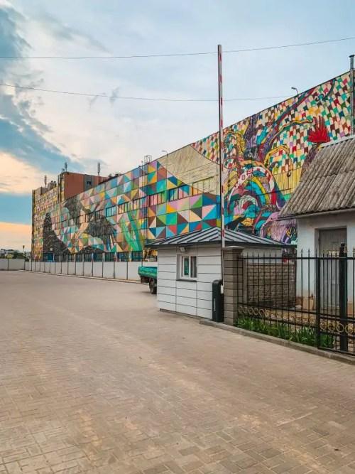 Oktyabrskaya Street in Minsk is a hub of street art in Minsk with art by Ramon Martins