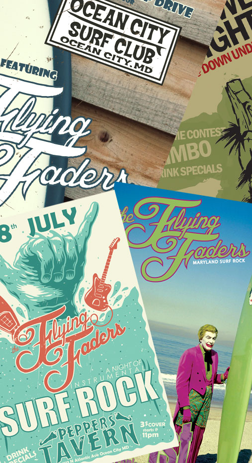 the Flying Faders Poster collage