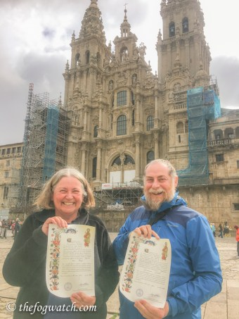 Sharon and Jerry with compostelas