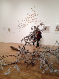 Nicola Drakes 'Tree of Knowledge' and in background Claire Brewsters 'The Harbringer'