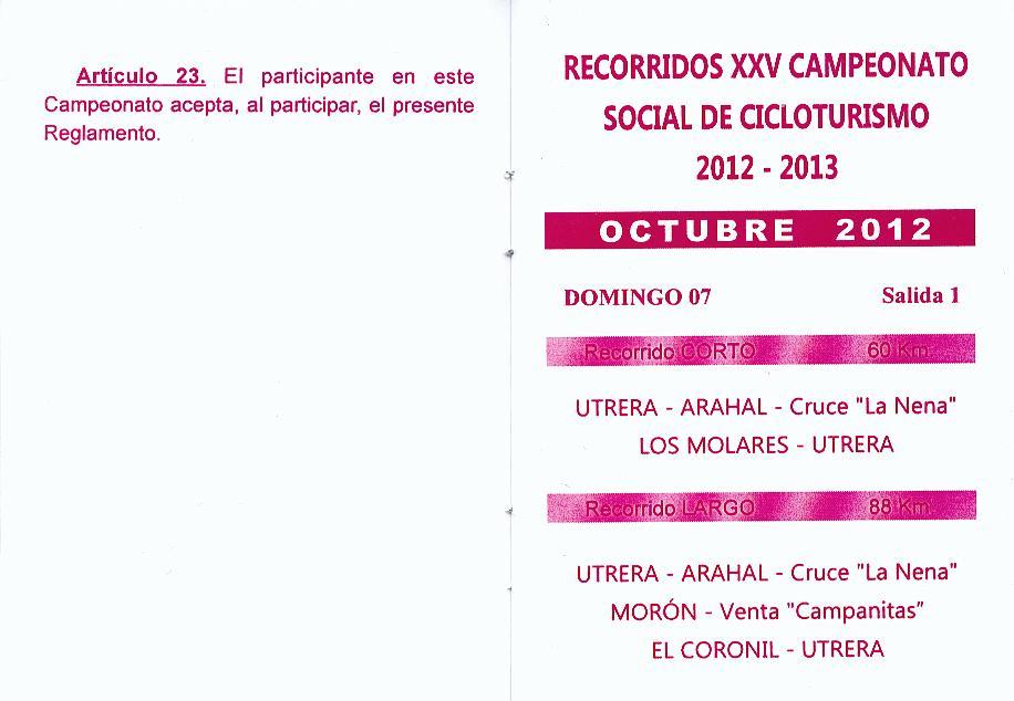 Calendario Salidas Peña Ciclista de Utrera (2/6)