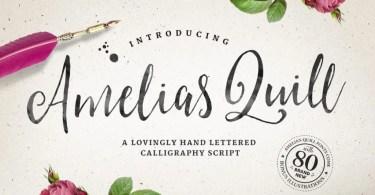 Amelia's Quill Script + Bonus [7 Fonts]