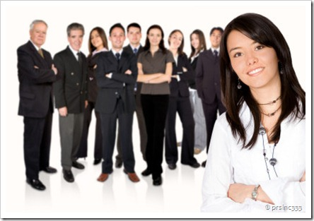business team work - girl leading