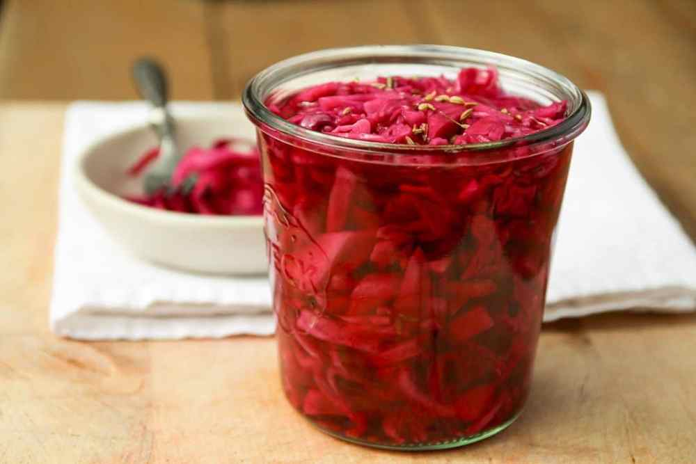 Quick Pickled Red Cabbage with Caraway Seed