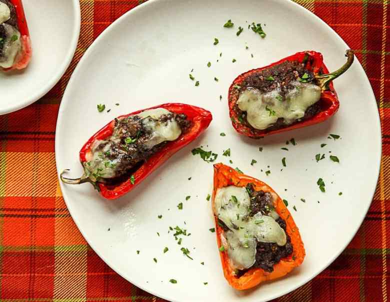 Black Bean Portobello Stuffed Mini Peppers