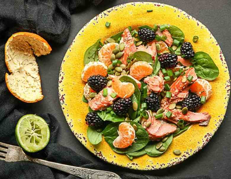 Salmon, Spinach  Mandarin Orange Salad