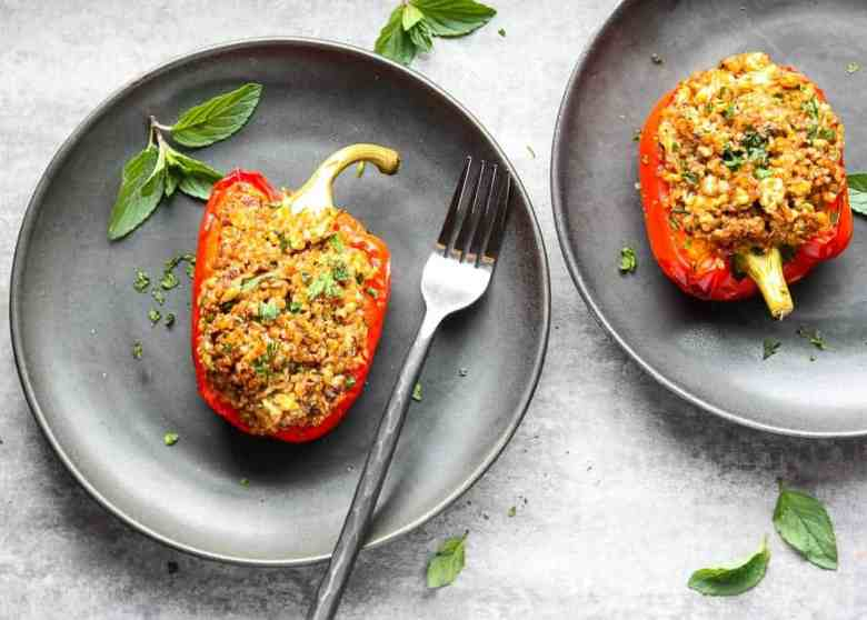 Moroccan Ground Chicken Stuffed Peppers