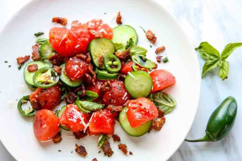 Watermelon Salad with Jalapeno and Bacon