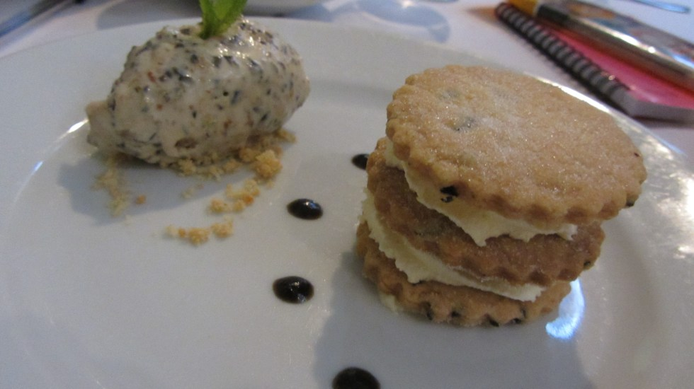 olive shortbread served with olive and fig ice cream and black and honey puree