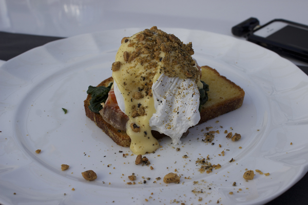 tea smoked salmon, poached egg and yuzu hollandaise on grilled bread