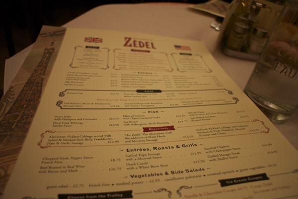 Brasserie Zédel menu