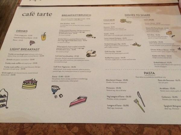 Cafe Tarte menu