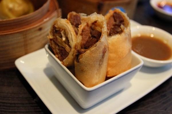 pulled pork and yuzu spring roll