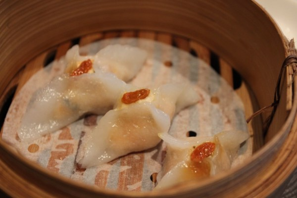 salmon, prawn and mint dumpling