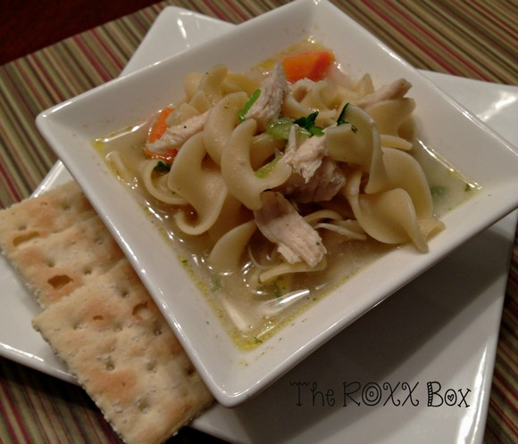 homemade chicken noodle soup from leftovers recipe by the roxx box