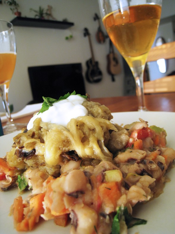 BLACK-EYED PEAS AND BROILED EGGPLANT recipe