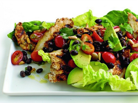 Southwestern Grilled Chicken Salad with Tomato and Black Bean Salsa recipe