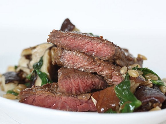 Steak, Mushrooms and Greens with Barley recipe