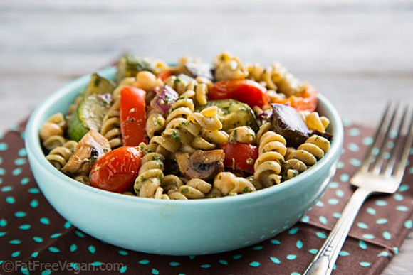 Warm Pasta Salad with Roasted Vegetables and Pesto Vinaigrette recipe photo