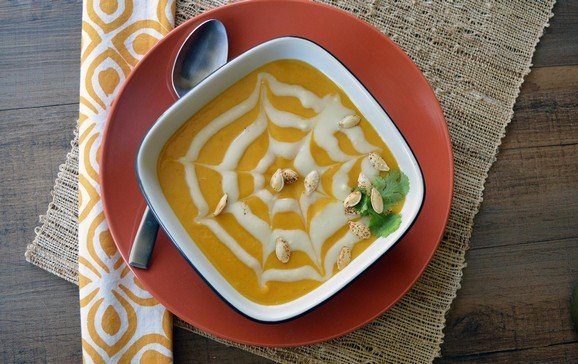 Halloween Chipotle Pumpkin Soup with Sweet Potato Cream recipe photo