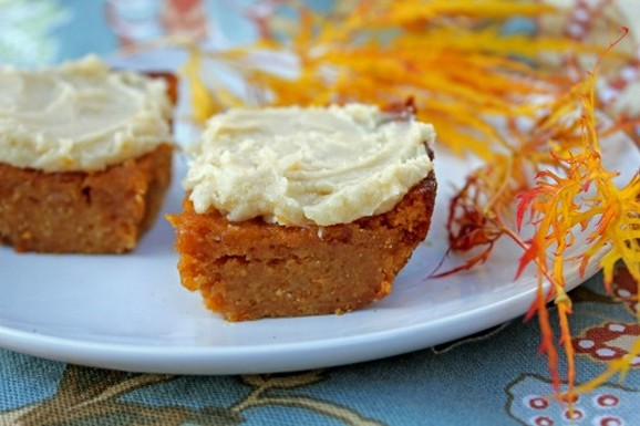 Paleo & Gluten-Free Pumpkin Bars with Vanilla Frosting recipe photo