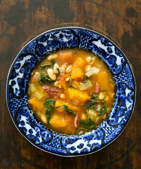 White Bean Soup with Ham, Pumpkin, and Chard recipe photo