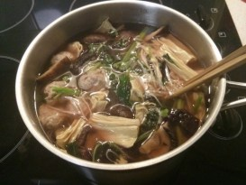 En Choy (Chinese Red Spinach) and Pork Meatball Soup with Bean Curd and Asian Mushrooms recipe photo
